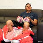 Jon Finkel resting after performing as Miami Heat mascot Burnice